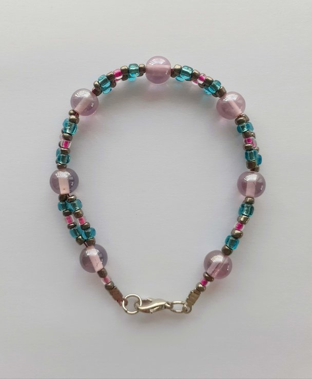 Beaded bracelet - pink, blue & silver glass beads by Scarlet and Mel
