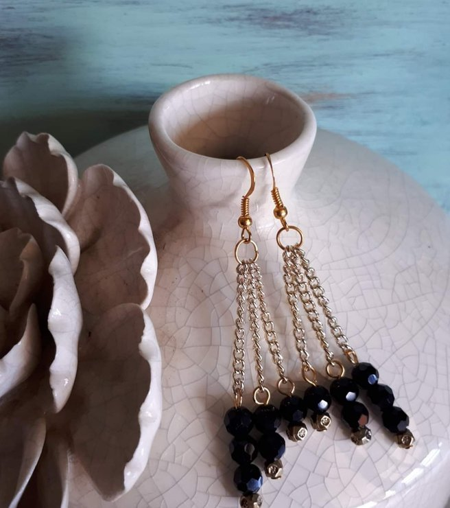 Gold and black dangle earrings by For the love of pretty things