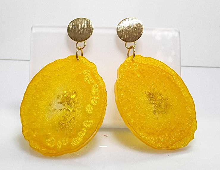 Sunshine Yellow Geode Resin Earrings  by Honeydog Designs
