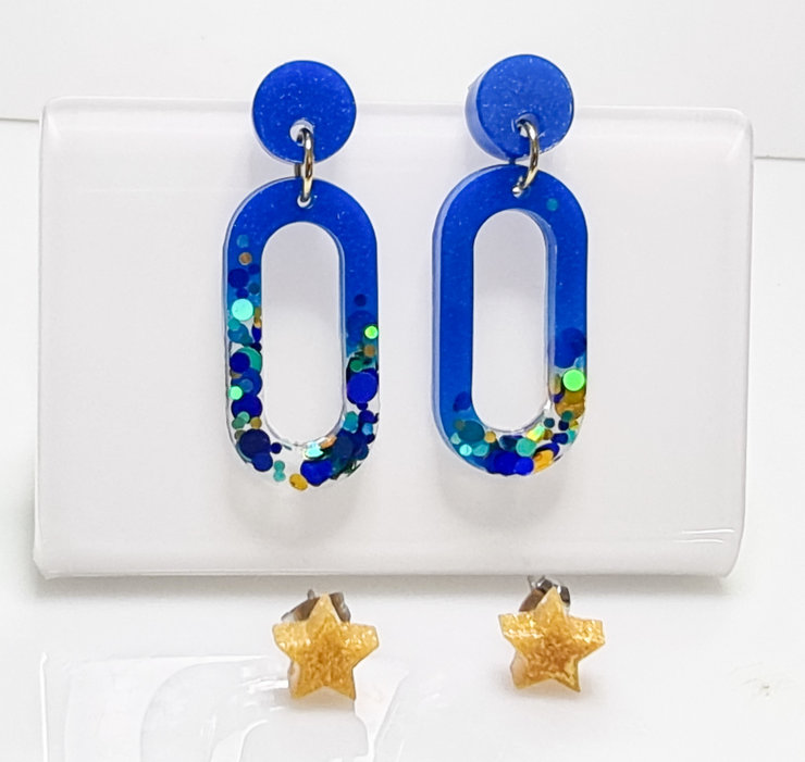 Deep Blue Oval Resin earrings  plus gold star studs by Honeydog Designs