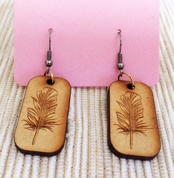 EARING SET WOOD FEATHERS 0006 by Dyru Graphics & Laser Art