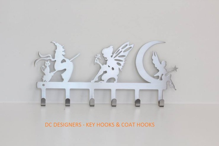Fairies and witches key hook Stainless steel brush finish by DC Designers-Medal Hanger Specialists
