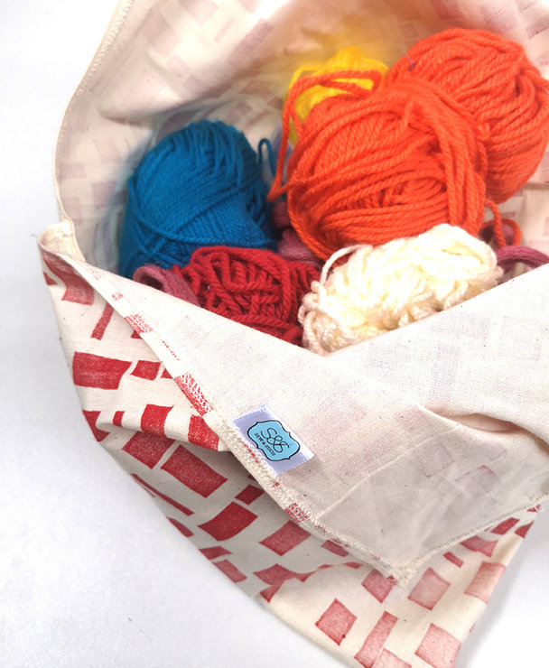 Bento Bags in Red Blocks by Sew & Such