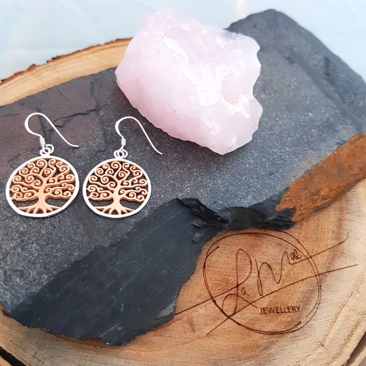 bd29a8c7b Sterling Silver and Rose Gold Plated Large Tree of Life Earrings by La Mae  Jewellery