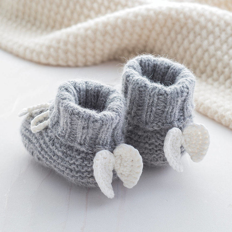Valentino Angel Baby Booties (0-3 months) by Baby Couture