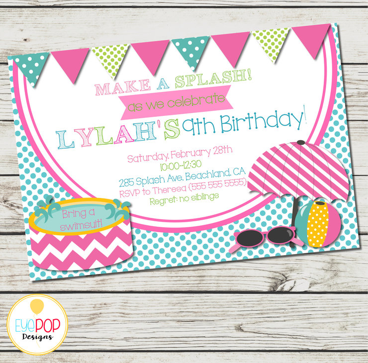 picture about Printable Pool Party Invitations named POOL Occasion INVITATION - Birthday Invitation - Generate a Splash! - Electronic Printable - Red Inexperienced Blue