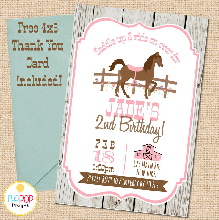 HORSE Birthday Invitation | Saddle Up | Cowgirl | Shabby Chic Rustic | Pink | Brown | Digital Printable | Thank You Card FREE by EyePop Designs