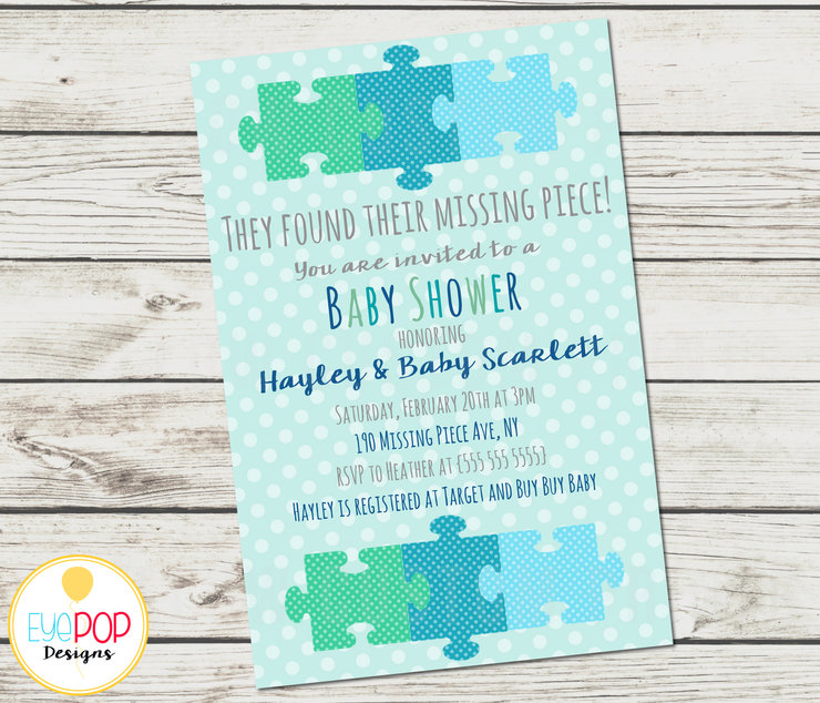Missing Piece Invitation - Baby Shower - Boy - Adoption - Polka Dots - Puzzle Piece - Digital Printable by EyePop Designs
