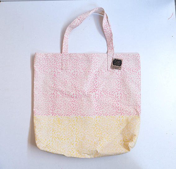 Tote bag in Pink and Yellow Pebbles by Sew & Such