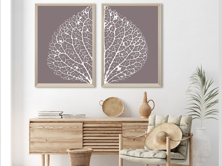 Set Of 2 Abstract Leaf Decoration Inspiration Instant Downloadable Print Hello Pretty Buy Design