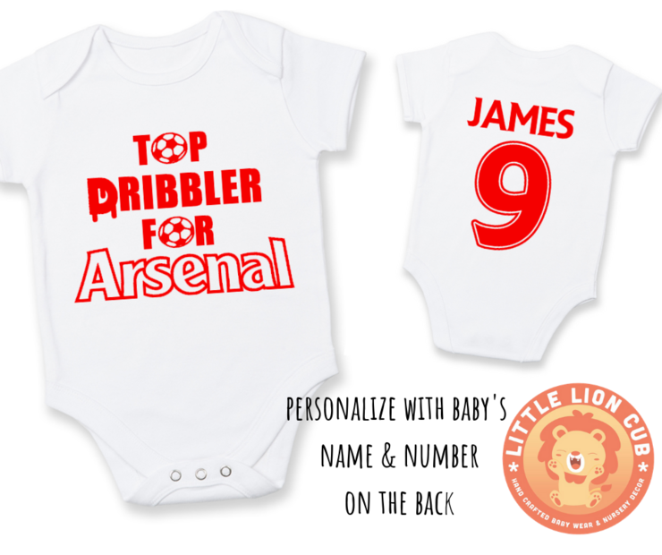 PERSONALISED ARSENAL FC Baby Grow with NAME & NUMBER/ Top Dribbler for ARSENAL Onesie / Grower/ Bodyvest / Baby Clothes /Baby Shower Gift   by Little Lion Cub Studio