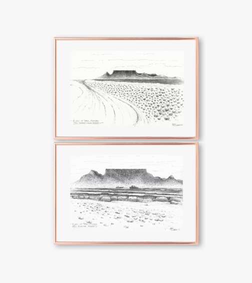 Original Cape Town Art, Table Mountain 2 x Landscape / Seascape Pen Drawings, Size A3. Medium Size Wall Art for Nature Lovers made by Cape Town Artist, Adri Voulgarellis. Free Shipping in South Africa by WHISP by Adri