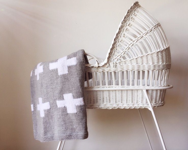 CRIB BLANKET - GREY SWISS CROSS by Baby Couture