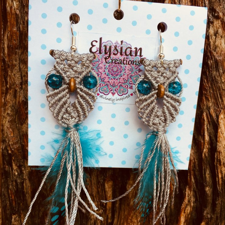 Owl macrame earrings by Elysian Creations