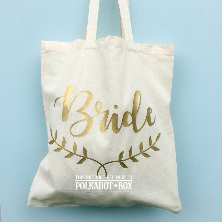 Personalised Bride Tote Bags by Polkadot Box