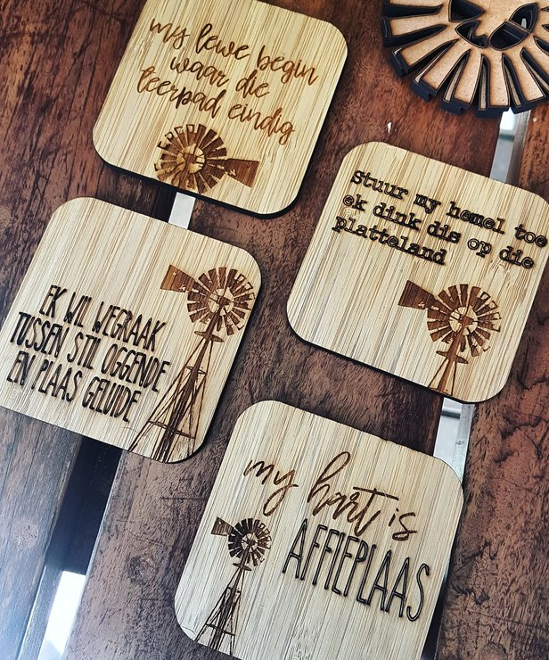 Plaas Liefde Bamboo Coasters by HALLO JANE