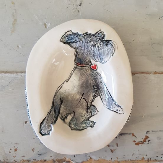Schnauzer oval 13 x 10 cm by Le Lapin Ceramics - South Africa