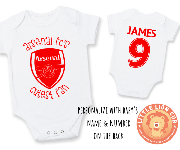 6aa676419 PERSONALISED ARSENAL FC Baby Grow with NAME  amp  NUMBER  Arsenal FC  039
