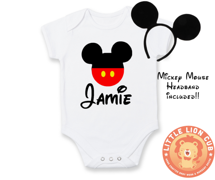 PERSONALISED Mickey Mouse outfit / Mickey Mouse baby grow / Baby Birthday outfit / Mickey Mouse / Headband included!  by Little Lion Cub Studio