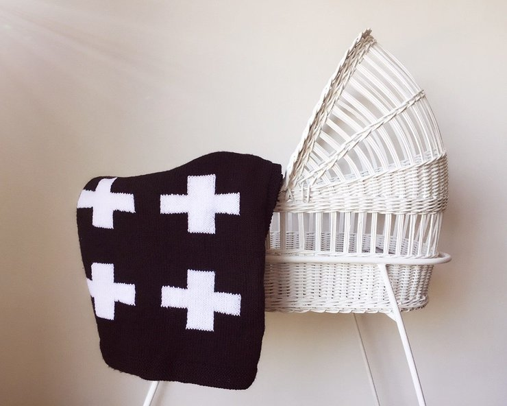 CRIB BLANKET - BLACK SWISS CROSS by Baby Couture