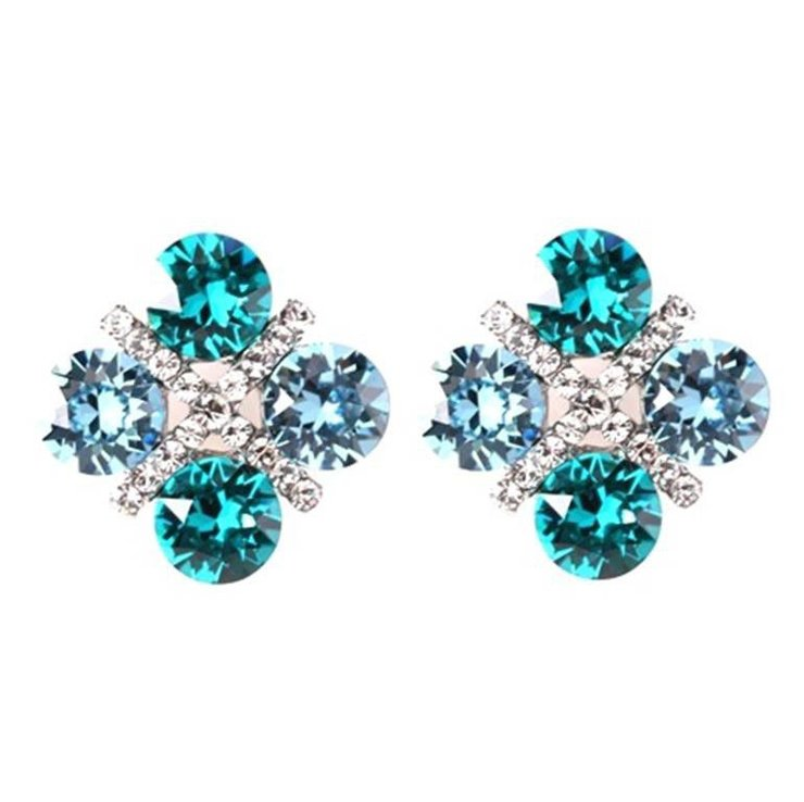 Civetta Spark XOXO Earrings - Aquamarine and Light Turquoise Swarovski Crystal by Civetta Spark
