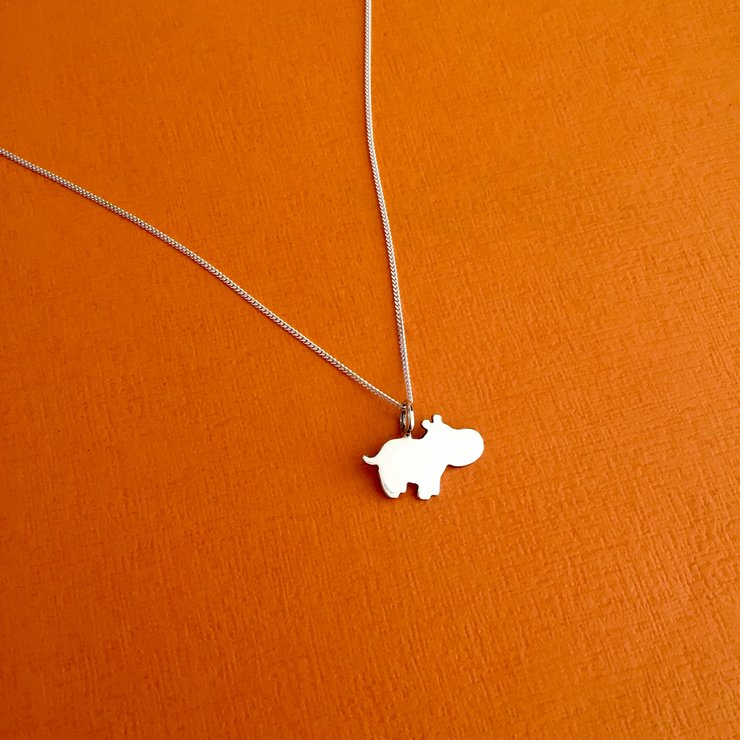 Handmade Sterling Silver - Hippo pendant by Jessica Jane Jewellery