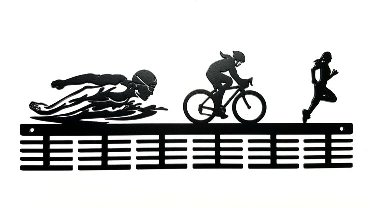 Swim Bike Run Lady figurines 48 tier medal hanger Black by DC Designers-Medal Hanger Specialists