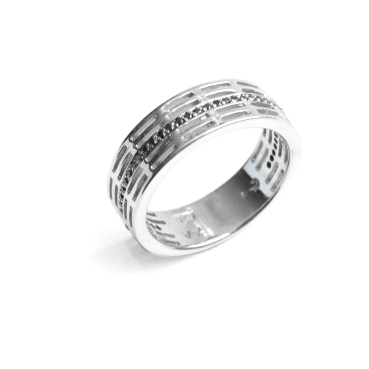 Black Diamond Groove Ring - Palladium Plated Sterling Silver by WHYJewellery