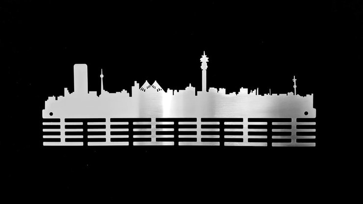 Johannesburg skyline 48 tier medal hanger Stainless steel brush finish by DC Designers Medal Hanger Specialists