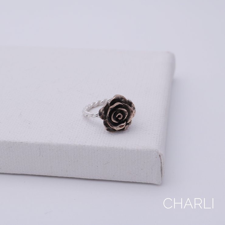 Large bronze rose on sterling silver twisted band by Charli Design Studio