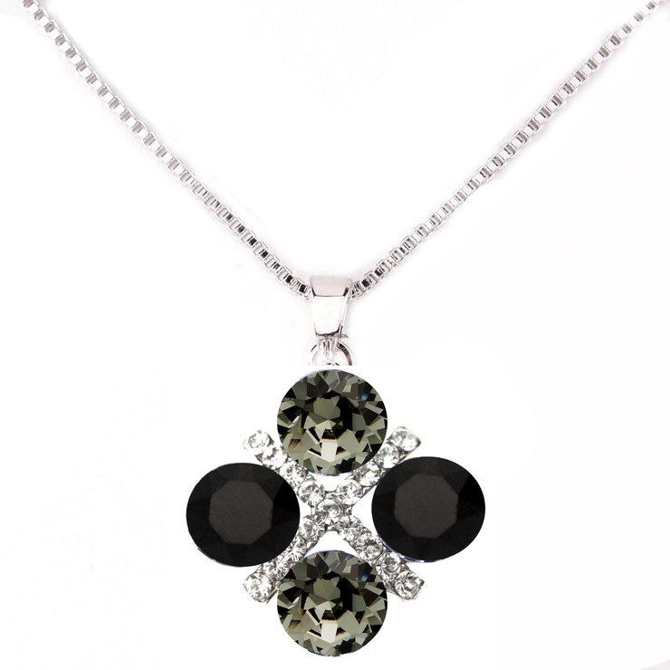Civetta Spark XOXO Pendent with Silver Chain - Black Diamond & Jet Swarovski Crystal by Civetta Spark