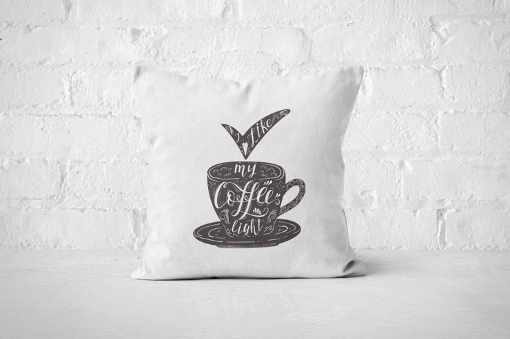 I like my coffee light (dark) - Pillow Cover by But Why Not