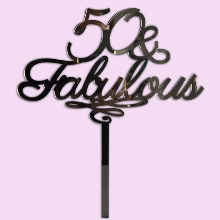 50 fabulous Cake Topper wood or acrylic Hello Pretty Buy design