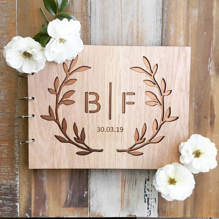 Wooden Guest Book  by Red Hare Laser Design