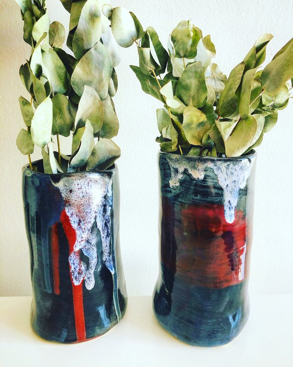 Black Colour Drips Vases x 2 by Clay Creations 56 - Handmade Pottery