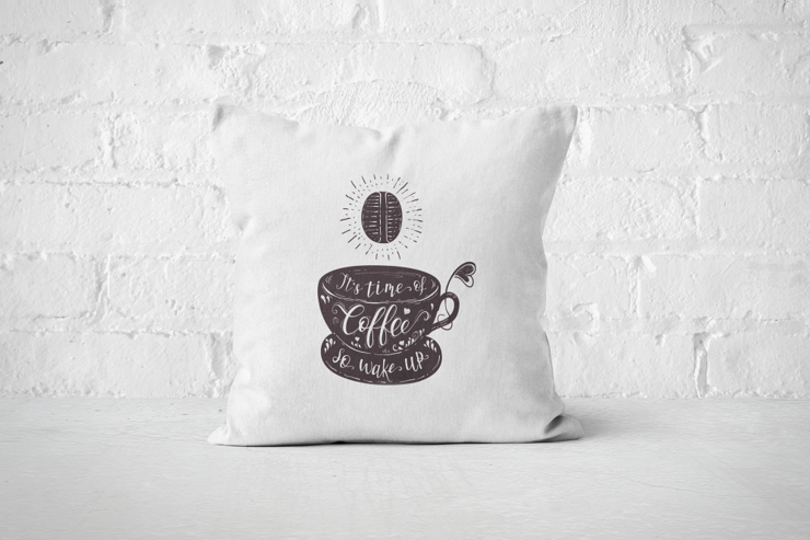 It's time time of Coffee (dark) - Pillow Cover by But Why Not