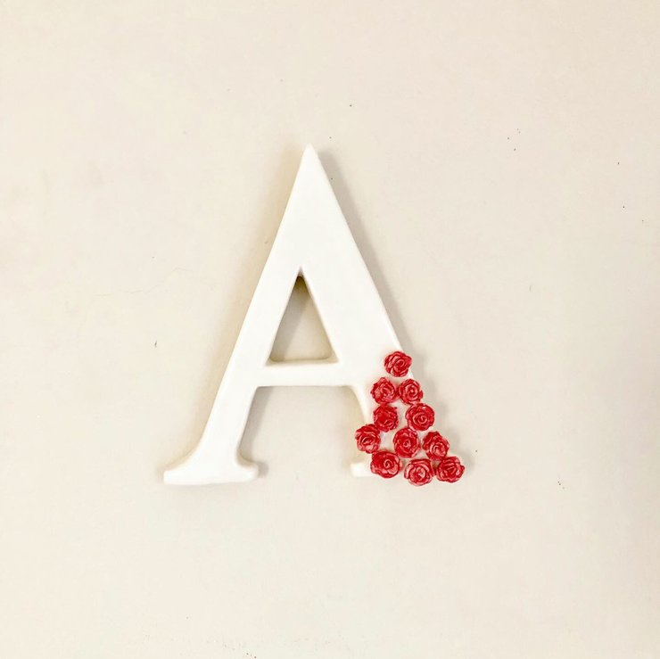 Ceramic Initial wall hanging for nursery by MeLT Ceramics