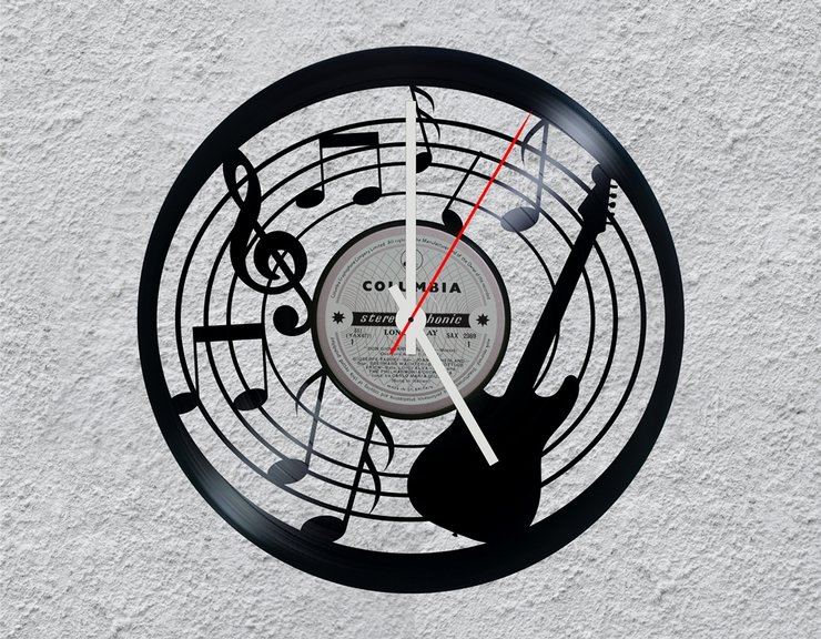 Music Note Vinyl Clock by Uber Cool Design
