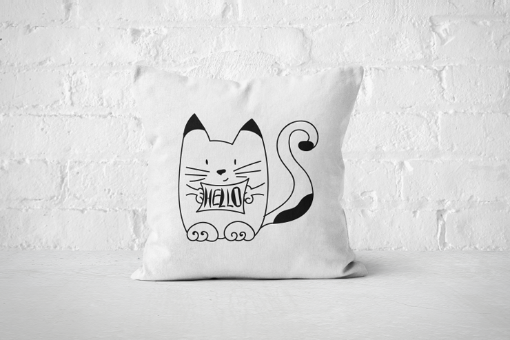 Hello Cat - Pillow Cover by But Why Not