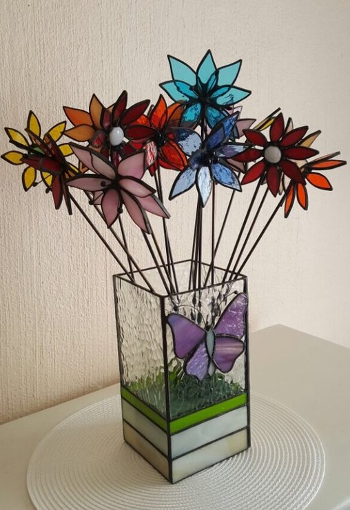 Boxy Vase with Purple Butterfly by Creative Stained Glass Designs
