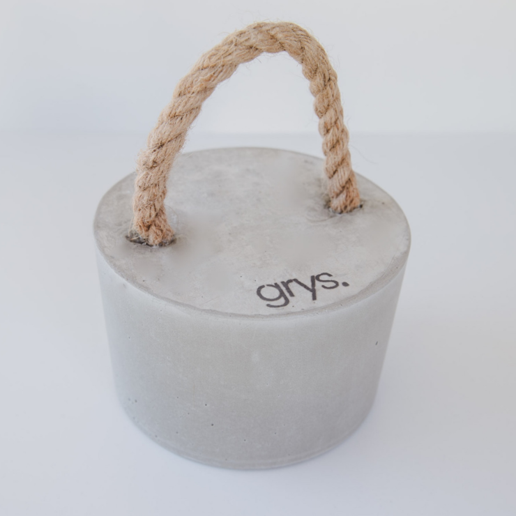 Large Decorative Concrete Door Stopper with Jute Rope Handle (Doorstop, Door Stop, Doorstopper) by Grys.