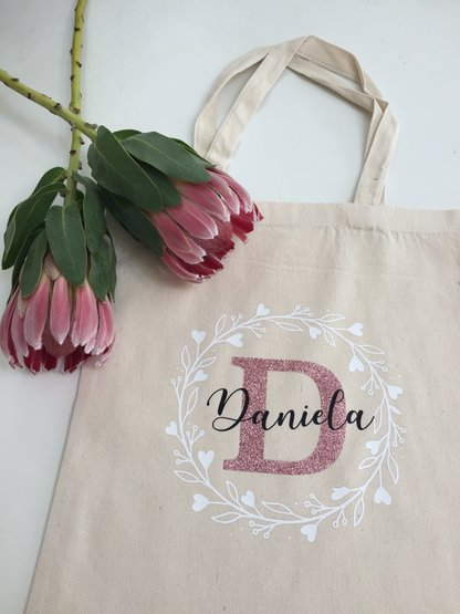 Personalized rose gold glitter gold glitter eco tote bag gift bridesmaid birthday by Love & Sparkles