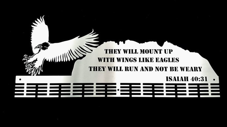 Eagles verse Isaiah 40:31 72 tier medal hanger Stainless steel brush finish by Medal Hanger & Home Décor Specialists - DC Designers
