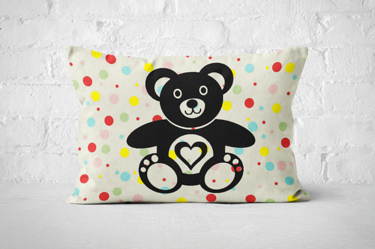 Polka Dot Teddy Bear A3 Pillow  by But Why Not