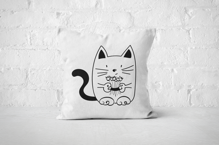 Flower Cat - Pillow Cover by But Why Not