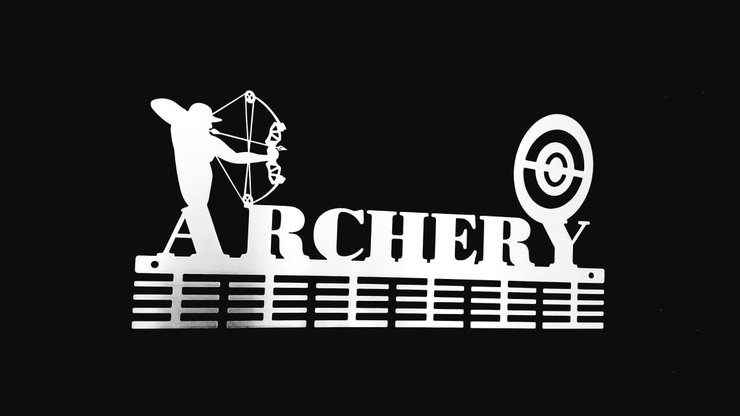 Archery Compound Bow 48 tier medal hanger in Stainless steel brush finish by DC Designers-Medal Hanger Specialists