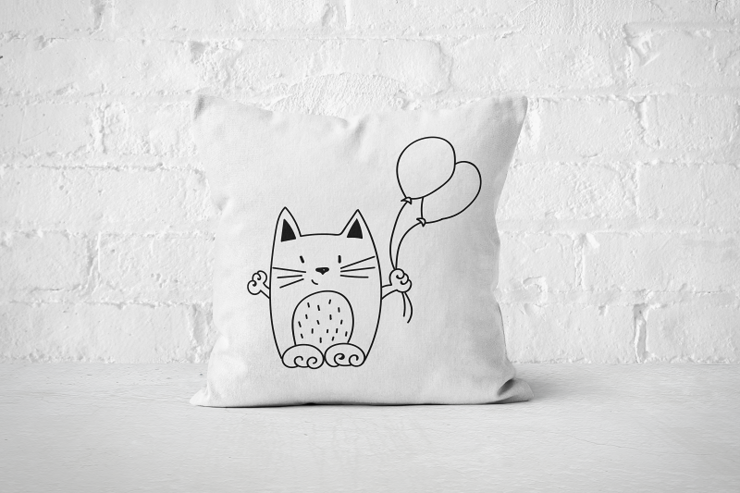 Balloons Cat - Pillow Cover by But Why Not
