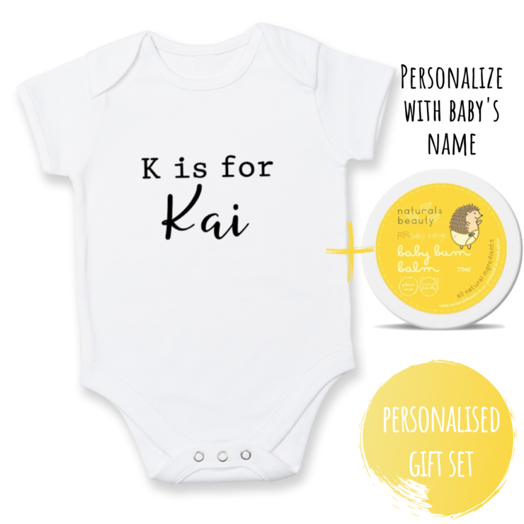 Personalised baby onesie & natural baby bum balm gift set for new baby/ Babyshower gift/ Personalised / Baby Grow / Natural Baby Bum Balm / Newborn gift set  by Little Lion Cub Studio