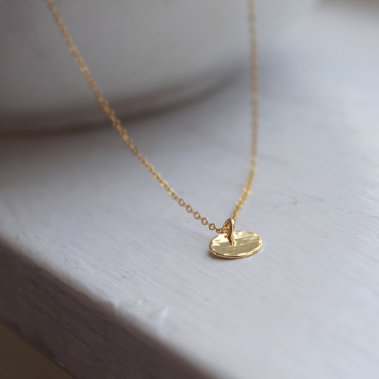 Small Hammered Disc Necklace: Yellow Gold Filled  by Minkykitten