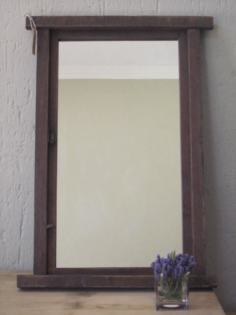 Large Dark Wood Framed Mirror By Antiques Alive